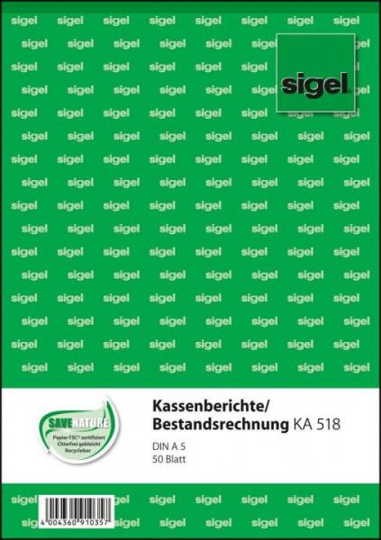 Sigel KA518 Kassenbericht A5 50 Blatt