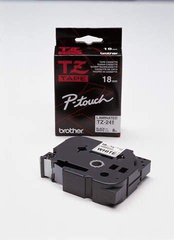 TZe-Schriftbandkassetten, laminiert Größe: 18 mm x 8 m (B x L) schwarz auf weiß