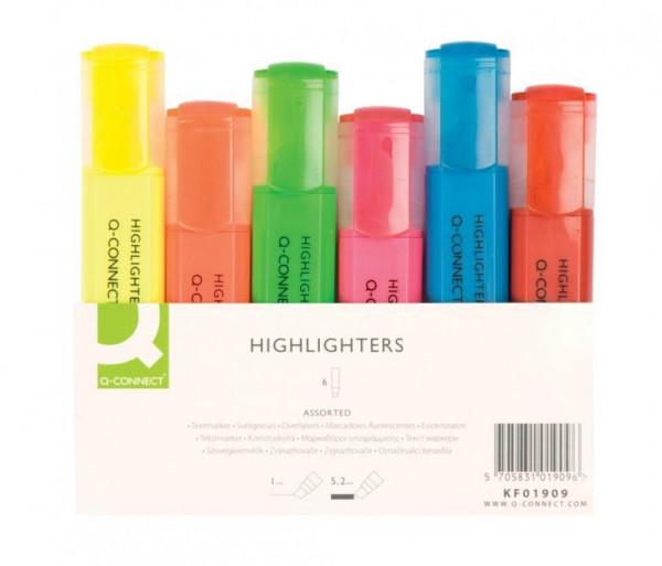 Q-Connect Textmarker Etui mit 6 Farben