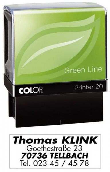 COLOP 20 Stempel Green Line selbstfärbend max. 4 Zeilen 14 x 38 mm