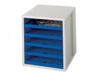 HAN Schubladenbox lichtgrau/blau mit 5 Schubladen