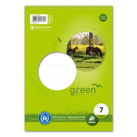 GREEN Schulblock mit Spirale A5 Lineatur 7
