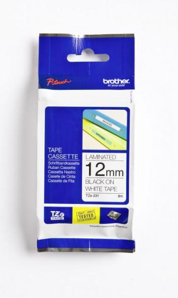 Brother TZE231 Schriftbandkassetten laminiert 12 mm x 8 m schwarz auf weiß