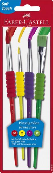 Faber-Castell 4er Set Schulpinsel Haarpinsel mit Soft-Touch-Griffstück