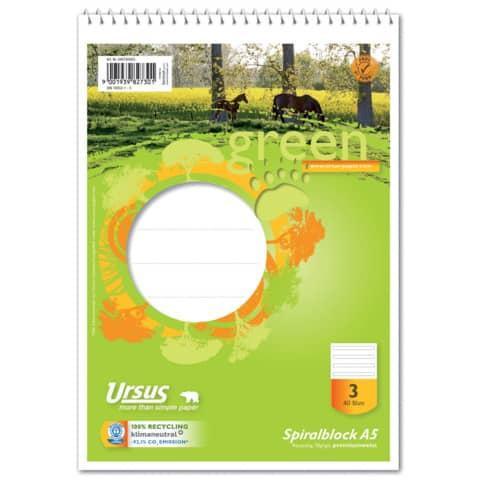 GREEN Schulblock mit Spirale A5 Lineatur 3