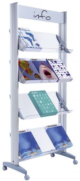 Mobiler Alu Prospektstander Mit Ablagen Aus Plexiglas Paper Markt
