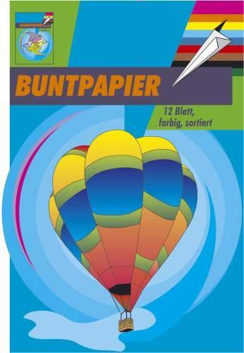 Buntpapierheft Bastelpapier 12 Blatt farblich sortiert und nicht gummiert