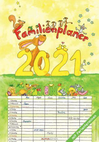 Alpha Familienplaner 2021 6 Spalten