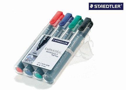Permanentmarker Lumocolor 350 Box mit 4 Farben