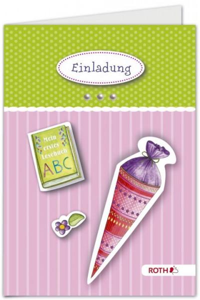 Einladungskarten Schulanfang 4 Stück pink
