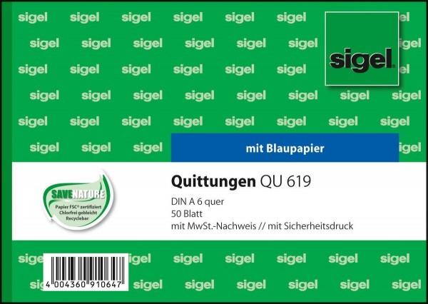 Sigel QU619 Quittung mit MwSt Nachweis