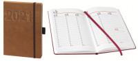BSB Buchkalender 2021 V-Book A5 braun mit Gummiband 1 Tag 1 Seite