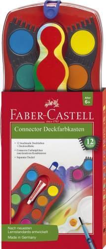 FABER-CASTELL Connector Farbkasten 12 Farben rot inkl. Deckw