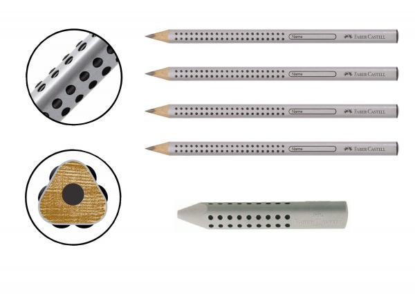 4x Faber-Castell Jumbo Grip Bleistift B und 1x Radierer Grip