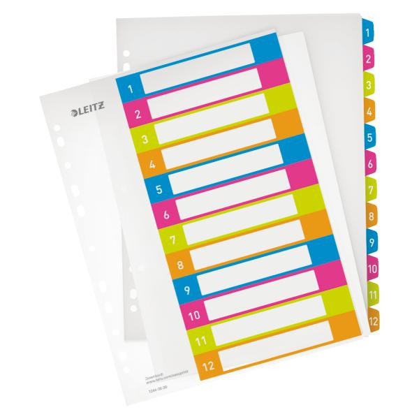 LEITZ Register A4 aus Plastik WOW 12 Blatt farbig