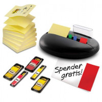 Post-it Haftnotizspender Stein-Form schwarz inkl. Z-Notes+Index