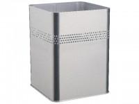 Papierkorb Metall eckig silber metallic