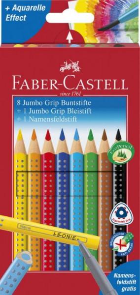 Faber-Castell 8 dicke Jumbo GRIP Buntstifte, Bleistift + Namensfeldstift
