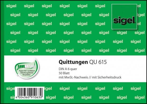 Sigel QU615 Quittungen mit MwSt Nachweis