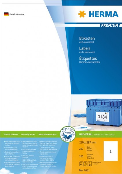 Herma 4631 Etiketten weiss 200 Stück