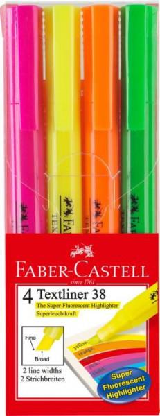 Faber-Castell Textmarker 38 4 Stück Stiftform