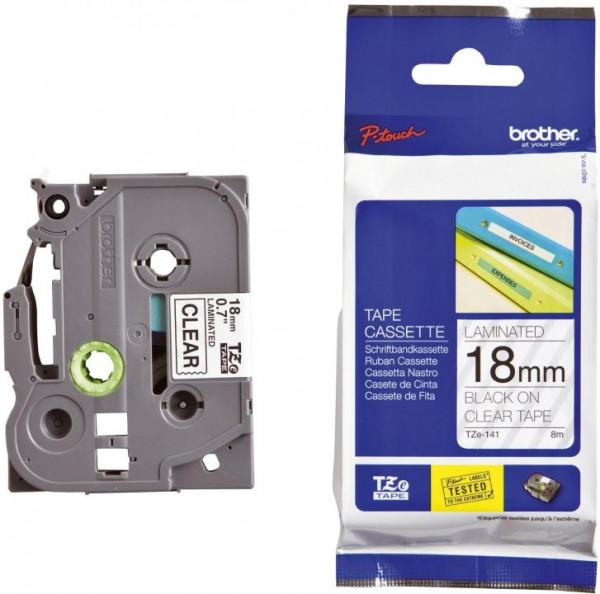 Brother TZE141 Schriftbandkassetten laminiert 18 mm x 8 m schwarz auf farblos