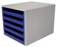 Ablagebox hellgrau/blau mit 5 Schubladen