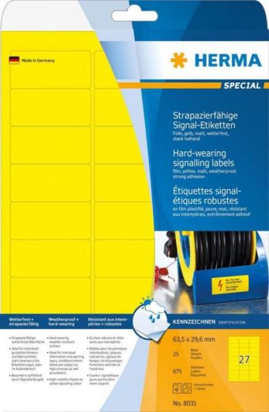 Herma 8031 wetterfeste Folienetiketten gelb