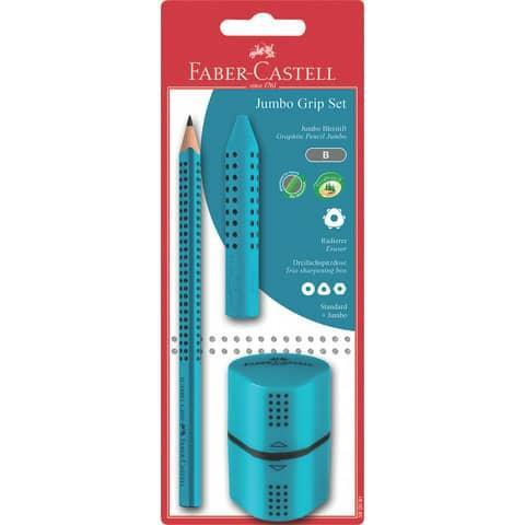Faber-Castell Jumbo Grip Bleistifte Set 1 dicker Bleistift, Anspitzer & Radierer