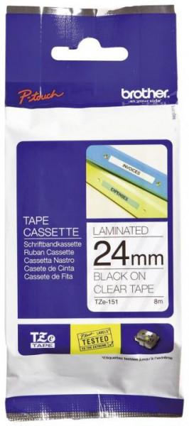 Brother TZe-Schriftbandkassetten laminiert 24 mm x 8 m schwarz auf farblos