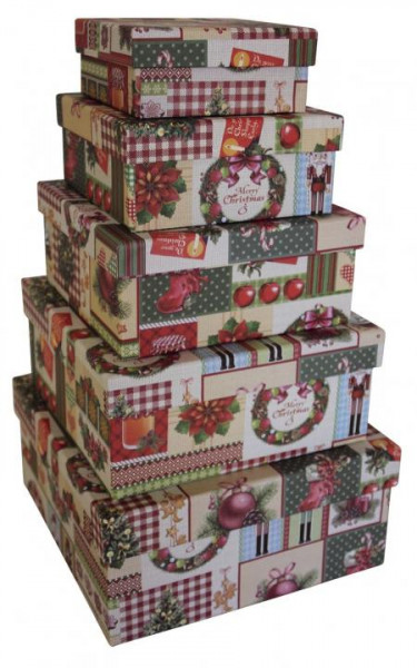 Geschenkkarton Weihnachten.Geschenkkarton Weihnachten Deko 5tlg Quadratisch Mit Deckel