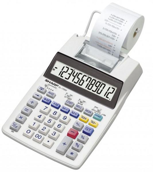 SHARP Tischrechner 12-stellig druckend weiß