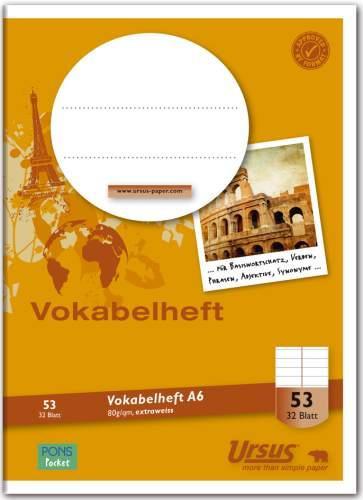 Vokabelheft A6 Heft mit 32 Blatt
