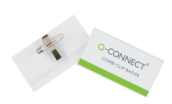 Q-CONNECT Namensschilder mit Kombiklemme 90 x 54 mm 50 Stück