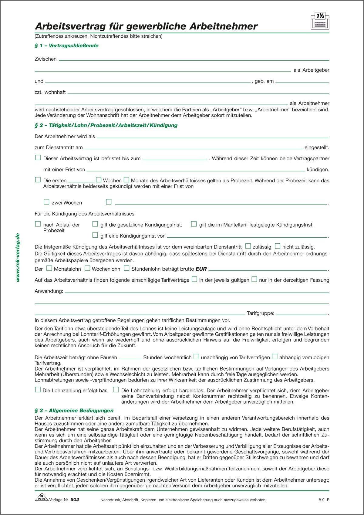 RNK 502/10 Arbeitsvertrag für Arbeitnehmer | Paper Markt Büroartikel ...