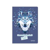 herlitz Hausaufgabenheft A5 48 Blatt Motiv Wolf