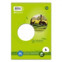 GREEN Schulblock mit Spirale A5 Lineatur 6