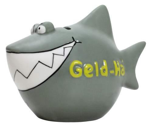 Spardose Geld Hai grau-grün