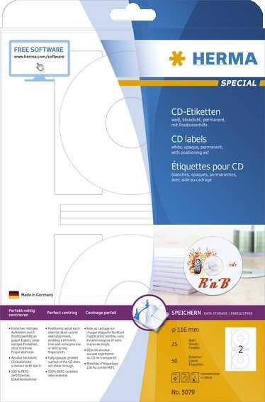 Herma CD-Etiketten weiß Ø 116 mm Papier matt 50 Stück