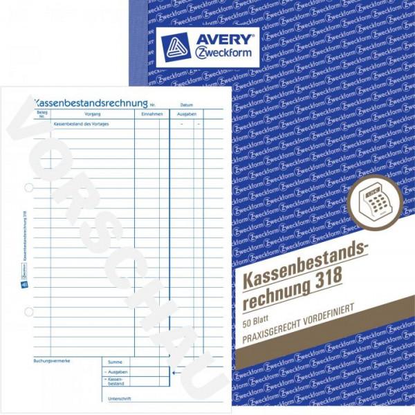 10 Zweckform 318 Kassenbestandsrechnung 50 Blatt Format A5 10 Stück