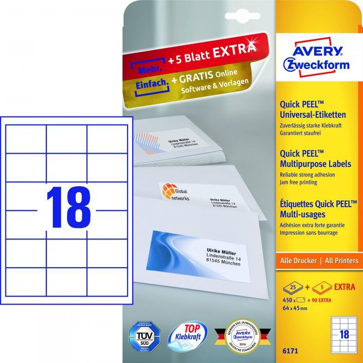 Universaletikett AVERY Zweckform 06171 64,0 x 45,0 mm Weiß A4 Papier Drucker I//
