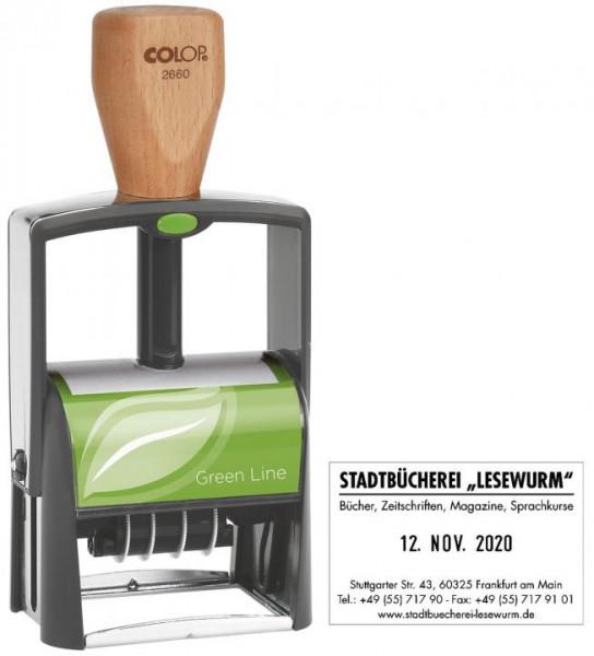 COLOP Selbstfärbestempel 2660 Green Line max. 8 Zeilen 27 x 58 mm