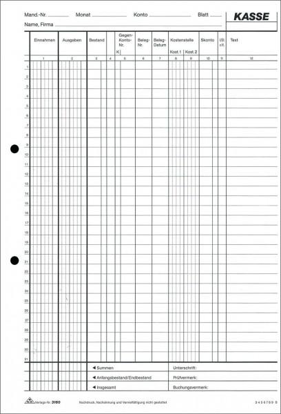 RNK 3160 Kassenbuch A4 2x50 Blatt