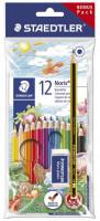 Staedtler Buntstifte 12 Stück Bonus Paket inkl. Radiergummi und Bleistift sechseckig