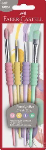 Faber-Castell Haarpinselset 4 Stück pastell mit Softgriff