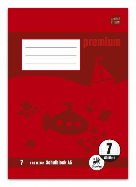 Staufen Premium Schulblock A5 Lineatur 7 kariert