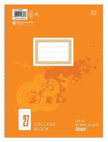 Ursus Collegeblock A4 Lineatur 27 liniert mit Rand 80 Blatt