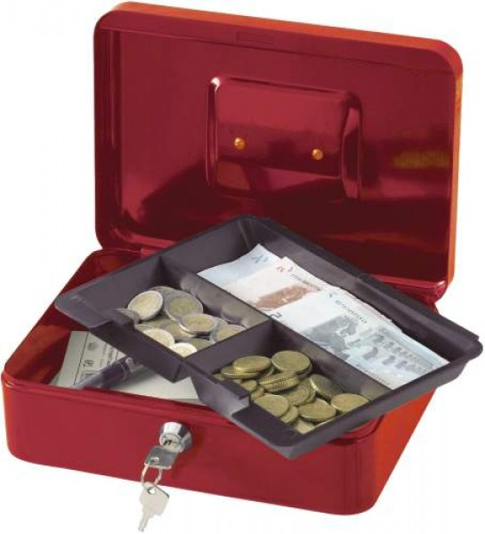 Ten inch cash box with removable tray compartment supplied with two
